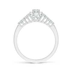 Toggle Round Diamond Classic Halo Ring With Pretzel Heart Motif