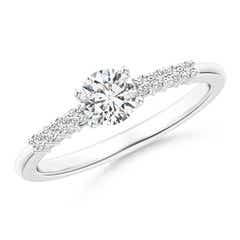 Round Diamond Classic Solitaire Ring With Pretzel Heart Motif