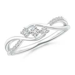 Diamond Infinity Twist Three Stone Bypass Ring