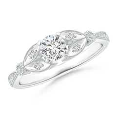 Solitaire Diamond Leaf Engagement Ring with Milgrain