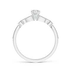 Toggle Solitaire Diamond Leaf Engagement Ring with Milgrain