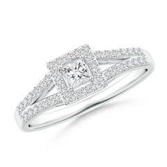 Floating Princess-Cut Diamond Halo Split Shank Engagement Ring