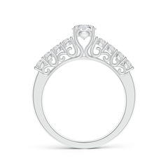 Diamond Solitaire Engagement Ring with Woven Scroll-Motifs