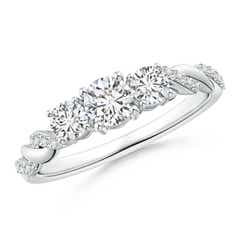 Classic Diamond Braided Three Stone Engagement Ring