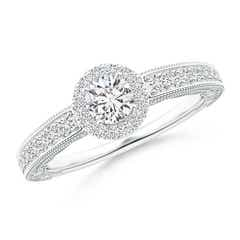 Milgrain Laced Diamond Vintage Halo Engagement Ring