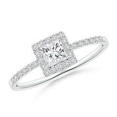 Classic Princess-Cut Diamond Halo Engagement Ring