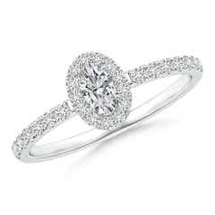 Classic Oval Diamond Halo Engagement Ring with Milgrain