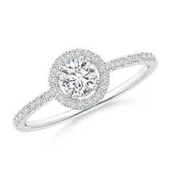 Floating Round Diamond Halo Engagement Ring