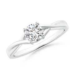 Solitaire Diamond Criss-Cross Engagement Ring