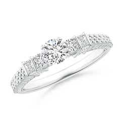 Embossed Pattern Diamond Three Stone Engagement Ring