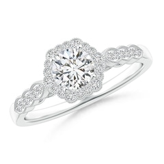 Scalloped-Edge Diamond Halo Engagement Ring with Milgrain