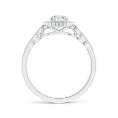 Toggle Scalloped-Edge Diamond Halo Engagement Ring with Milgrain
