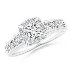 Claw-Set Round Diamond Cushion Halo Engagement Ring