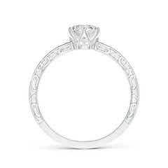 Toggle Tapered Diamond Solitaire Engagement Ring with Filigree