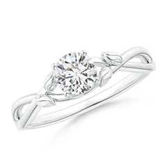Solitaire Diamond Leaf and Vine Engagement Ring