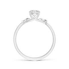 Toggle Solitaire Diamond Leaf and Vine Engagement Ring