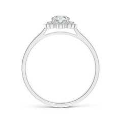Toggle Diamond Floral Halo Engagement Ring with Milgrain