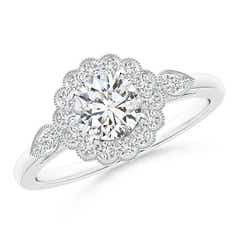 Scalloped-Edge Diamond Floral Halo Engagement Ring