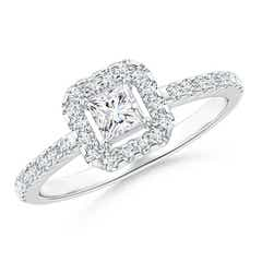 Floating Princess-Cut Diamond Halo Promise Ring