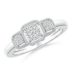 Cushion Framed Composite Diamond Art Deco Promise Ring