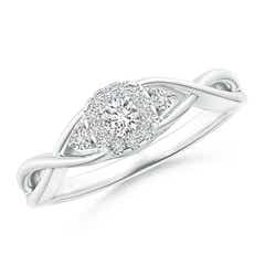 Pave-Set Round Halo Diamond Infinity Promise Ring