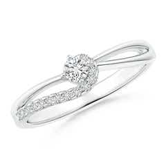 Solitaire Round Diamond Swirl Promise Ring