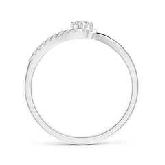 Toggle Solitaire Round Diamond Swirl Promise Ring
