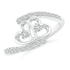 Entwined Double Diamond Bypass Heart Promise Ring