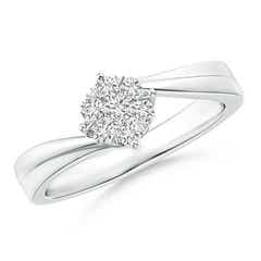Round Cluster Diamond Fluted Bypass Promise Ring