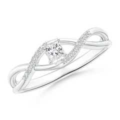Solitaire Princess-Cut Diamond Infinity Swirl Promise Ring