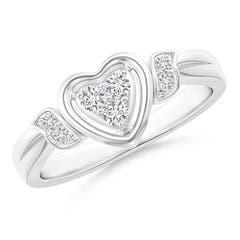 Floating Trio Diamond Heart Promise Ring