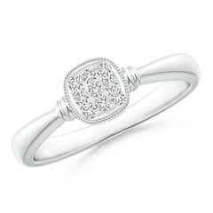 Double Streak Diamond Cushion Cluster Promise Ring