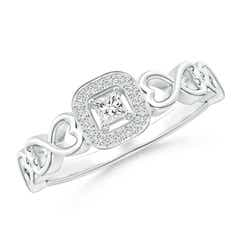 Princess-Cut Diamond Cushion Halo Promise Ring with Infinity Heart-Motifs