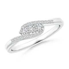 Round Diamond Three Stone Swirl Bypass Ring