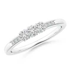 Three Stone Round Diamond Engagement Ring with Heart-Motifs
