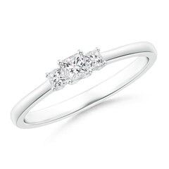 Classic Princess-Cut Diamond Three Stone Ring