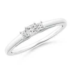 Princess-Cut Trellis Diamond Three Stone Ring