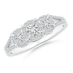 Claw-Set Halo Diamond Three Stone Engagement Ring