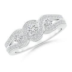 Three Stone Diamond Criss Cross Halo Engagement Ring