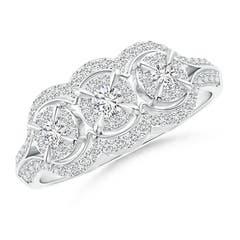 Claw-Set Triple Diamond Floating Halo Engagement Ring