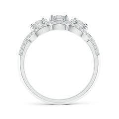 Toggle Claw-Set Triple Diamond Floating Halo Engagement Ring