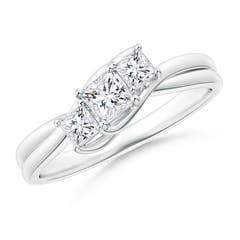 Three Stone Princess Diamond Double Bypass Ring