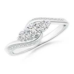 Horizontally-Set Three Stone Diamond Bypass Ring