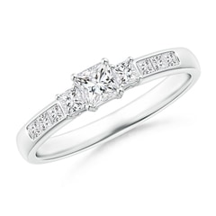 Classic Three Stone Princess-Cut Diamond Promise Ring