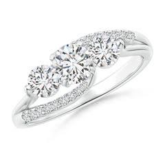 Flat Prong-Set Three Stone Diamond Split Bypass Ring