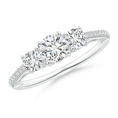 Three Stone Diamond Cathedral Engagement Ring