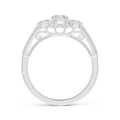 Toggle Three Stone Diamond Cathedral Engagement Ring