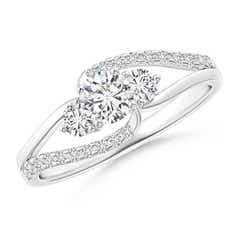Angara Flat Prong-Set Three Stone Diamond Split Bypass Ring Hmwa0STD