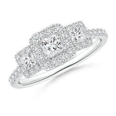 Princess-Cut Triple Diamond Halo Engagement Ring