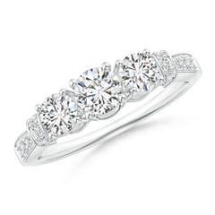 Three-Stone Round Diamond Collar Engagement Ring